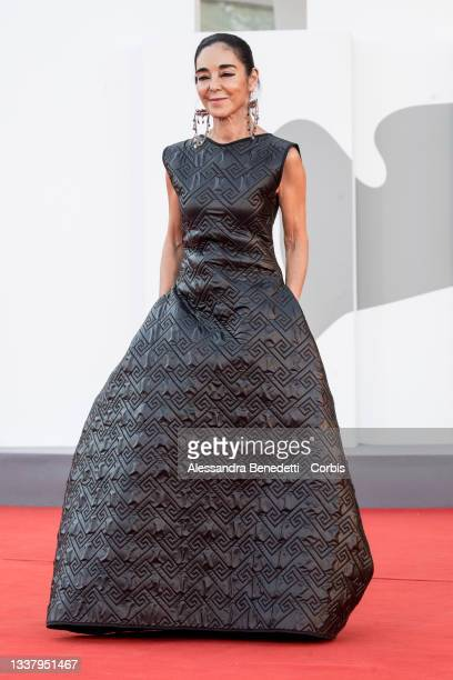"""Shirin Neshat attends the red carpet of the movie """"Land Of Dreams"""" during the 78th Venice International Film Festival on September 02, 2021 in..."""