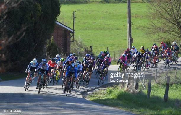 Shirin Van Anrooij of Netherlands and Team Trek- Segafredo, Georgia Williams of New Zealand and Team BikeExchange, Elise Chabbey of Switzerland and...
