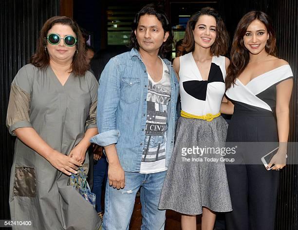 Shirish Kunder Neha Sharma and Farah Khan during the world premiere of the movie Kriti in Mumbai