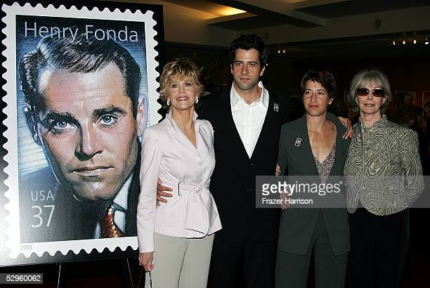 Shirlee Fonda Jane Fonda and her son and daughter Troy Garity and Vanessa Vadim pose at the Henry Fonda Centennial Celebration and the US Postal...