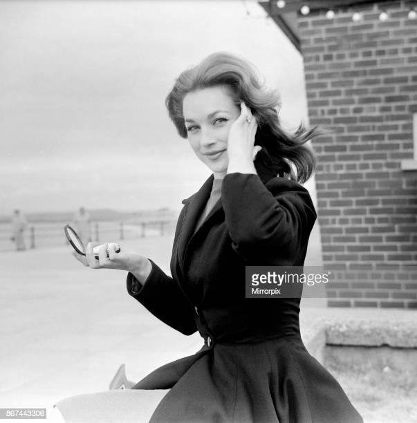 Shirley Anne Field on location at Morecambe where she takes the part of a bathing beauty in the new film 'The Entertainer' She wears a diamond ring...