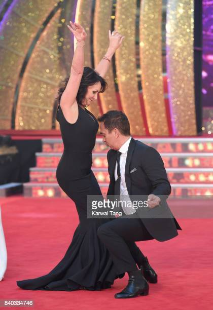 Shirley Ballas and Bruno Tonioli attend the 'Strictly Come Dancing 2017' red carpet launch at Broadcasting House on August 28 2017 in London England