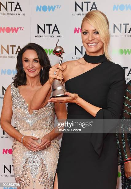 Shirley Ballas and Tess Daly accepting the Best Talent Show award for 'Strictly Come Dancing' poses in the press room at the National Television...