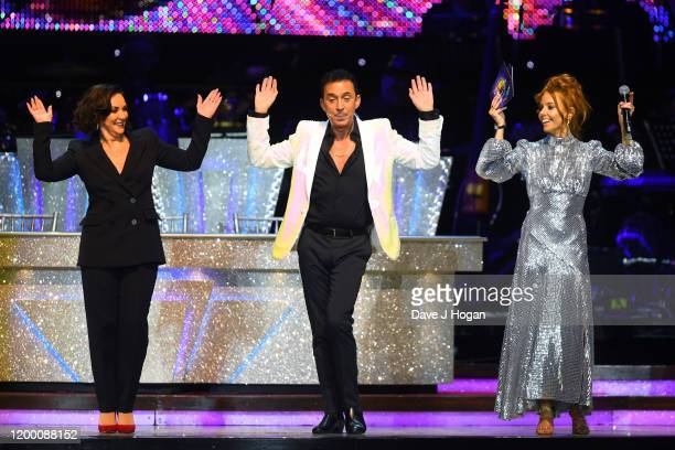 Shirley Ballas Bruno Tonioli and Stacey Dooley during the opening night of the Strictly Come Dancing Arena Tour 2020 at Arena Birmingham on January...