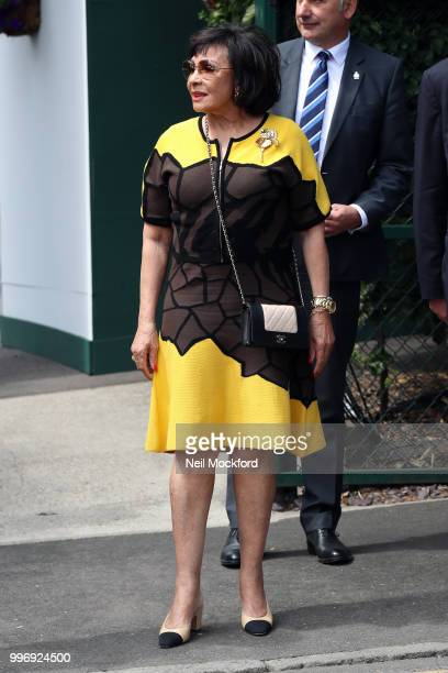 Shirley Bassey is seen arriving at Wimbledon Day 10 on July 12 2018 in London England