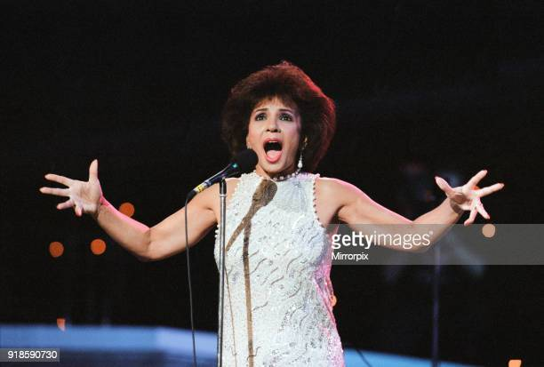 Shirley Bassey performing at the Cor World Choir concert at Cardiff Arms Park 29th May 1993