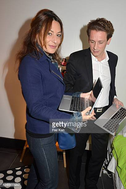Shirley Bousquet and Acer Marketing director Fabrice Massin attend the Acer Pop Up Store Launch Party at Les Halles on November 20, 2014 in Paris,...