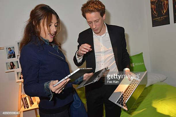 Shirley Bousquet and Acer Marketing director Fabrice Massin attend the Acer Pop Up Store Launch Party at Les Halles on November 20 2014 in Paris...