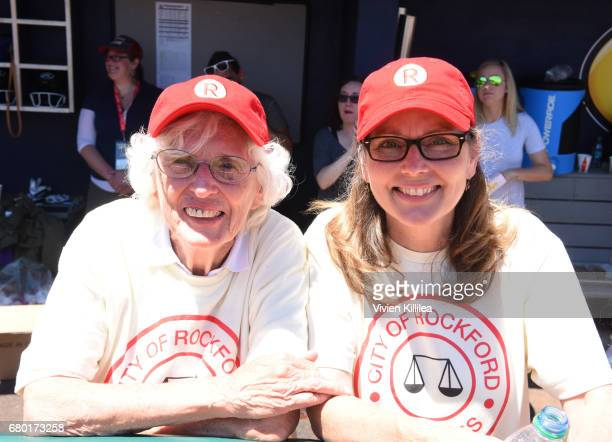 Shirley Burkovich and Renee Coleman attend 'A League of Their Own' 25th Anniversary Game at the 3rd Annual Bentonville Film Festival on May 7 2017 in...