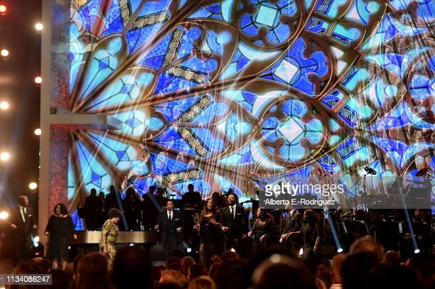 Shirley Caesar performs onstage at AllStar Lineup Pays Tribute At 'Aretha A GRAMMYCelebration For The Queen Of Soul at The Shrine Auditorium on...
