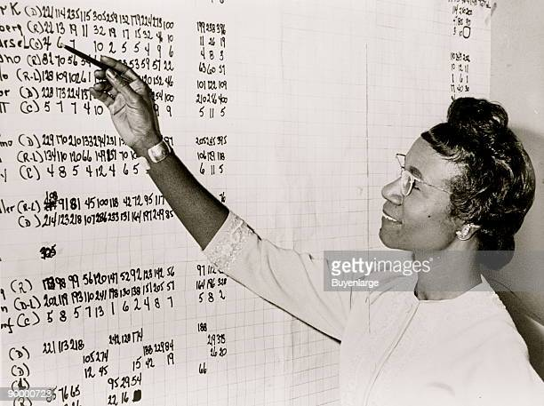 Shirley Chisholm headandshoulders portrait facing left standing with right arm raised looking at list of numbers posted on a wall