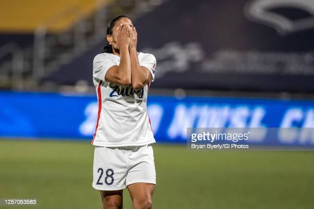 Shirley Cruz of OL Reign FC reacts to penalty kick during a game between Chicago Red Stars and OL Reign at Zions Bank Stadium on July 18, 2020 in...