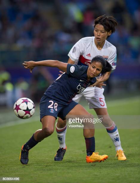 Shirley Cruz Trana of Paris SaintGermain and Saki Kumagai of Olympique Lyonnais in action during the UEFA Women's Champions League Final between...