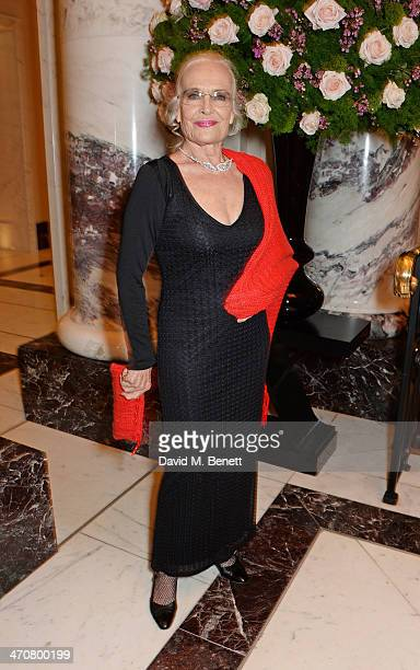 Shirley Eaton attends a one night private view of 'Cocktails With Monroe' at the Langham Hotel on February 20 2014 in London England