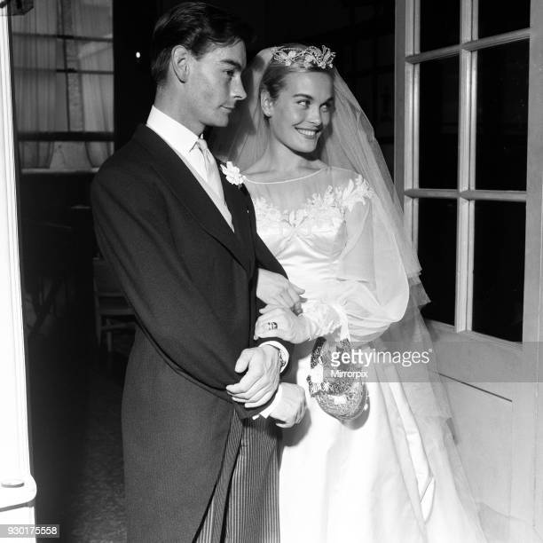 Shirley Eaton TV and Film Actress aged 21 wedding to Colin Lenton Rowe aged 27 St Mary's Kenton Middlesex Monday 5th August 1957