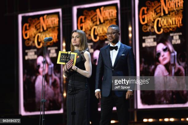 Shirley Henderson winner of the award for Best Actress In A Musical for 'Girl From The North Country' and Cuba Gooding Jr on stage during The Olivier...