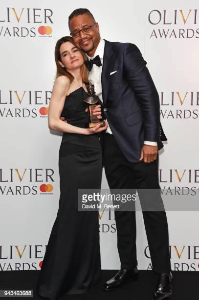 Shirley Henderson winner of the Best Actress In A Musical award for Girl From The North Country and Cuba Gooding Jr pose in the press room during The...