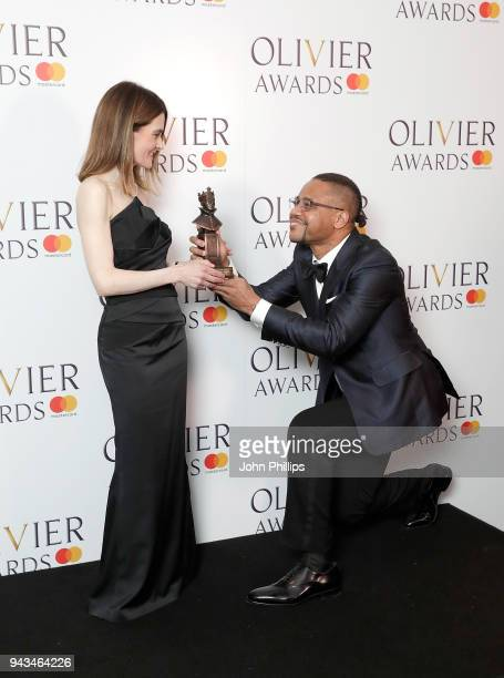 Shirley Henderson winner of the Best Actress In A Musical award for 'Girl From The North Country' and poses with Cuba Gooding Jr in the press room...