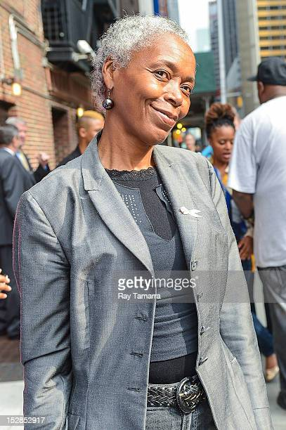 Shirley Jaco mother of Lupe Fiasco enters the 'Late Show With David Letterman' taping at the Ed Sullivan Theater on September 27 2012 in New York City