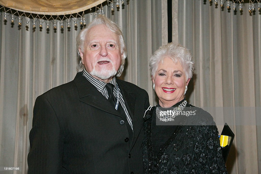 Shirley Jones (R) and her husband Marty Ingels pose backstage after her opening-night performance at Feinstein's at Loews Regency Ballroom on March 15, 2011 in New York City.