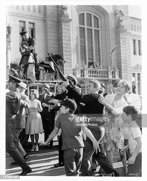 Shirley Jones cautions Red Buttons as he tries to shoot the weather balloon her son is in Back to the cameras are the two other 'astro kids' Bryan...