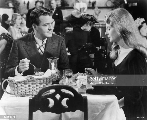 Shirley Knight and Hal Holbrook having dinner together in a scene from the film 'The Group' 1966