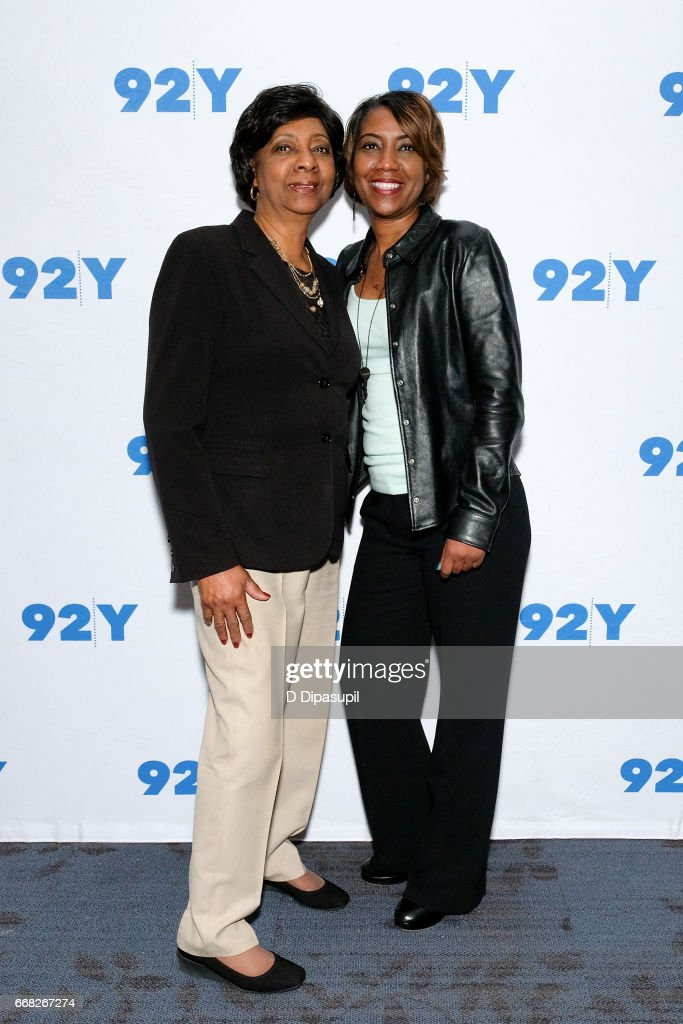Shirley Lacks (L) and Jeri Lacks visit the 92nd Street Y to discuss 'The Immortal Life of Henrietta Lacks' on April 13, 2017 in New York City.
