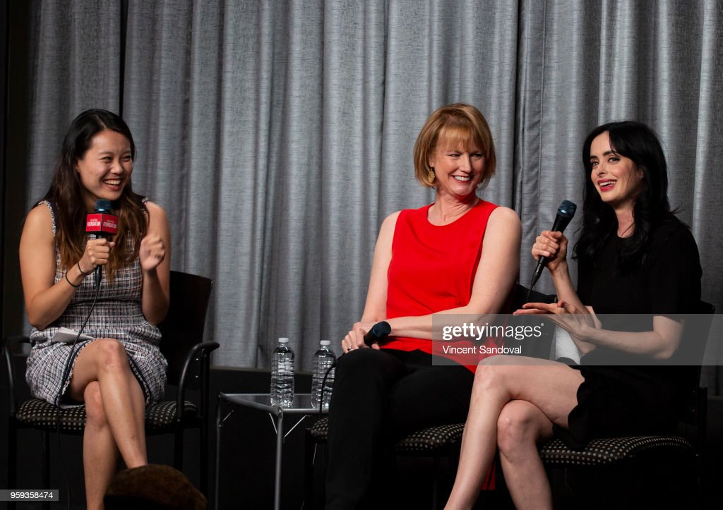 Shirley Li, Producer Melissa Rosenberg and Actress Krysten Ritter attend SAG-AFTRA Foundation Conversations screening of 'Jessica Jones' at SAG-AFTRA Foundation Screening Room on May 16, 2018 in Los Angeles, California.