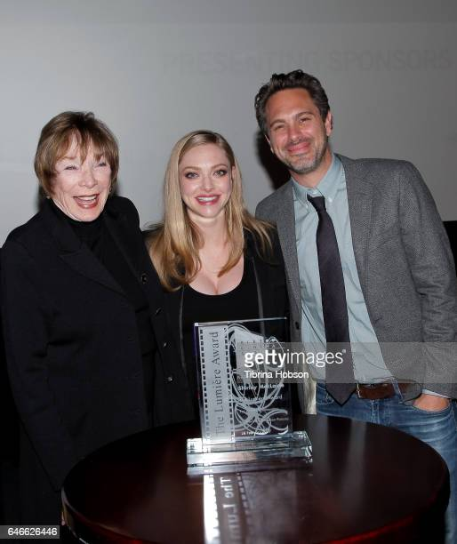 Shirley MacLaine Amanda Seyfried and Thomas Sadoski attend The KCET Cinema Series Lumiere Award Ceremony and 'The Last Word' screening at ArcLight...