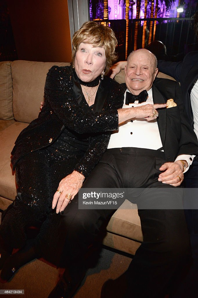 Shirley MacLaine and Don Rickles attend the 2015 Vanity Fair Oscar Party hosted by Graydon Carter at the Wallis Annenberg Center for the Performing Arts on February 22, 2015 in Beverly Hills, California.