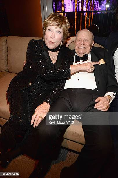 Shirley MacLaine and Don Rickles attend the 2015 Vanity Fair Oscar Party hosted by Graydon Carter at the Wallis Annenberg Center for the Performing...