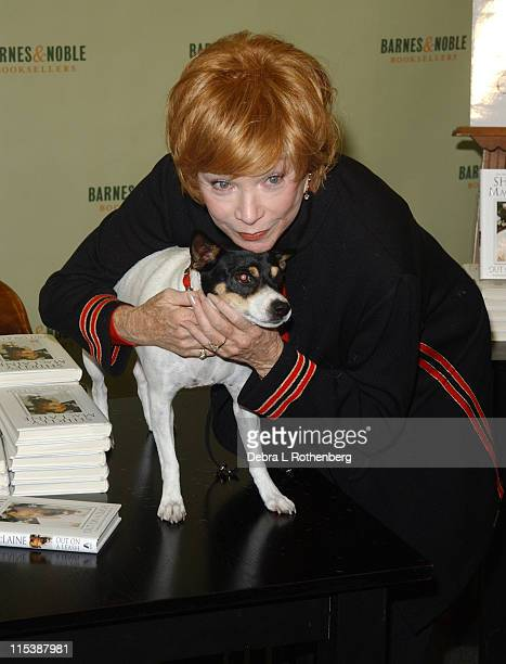 Shirley MacLaine and Her Dog Terry during Shirley MacLaine Signs Her New Book Out On A Leash at Barnes Noble in New York City New York United States