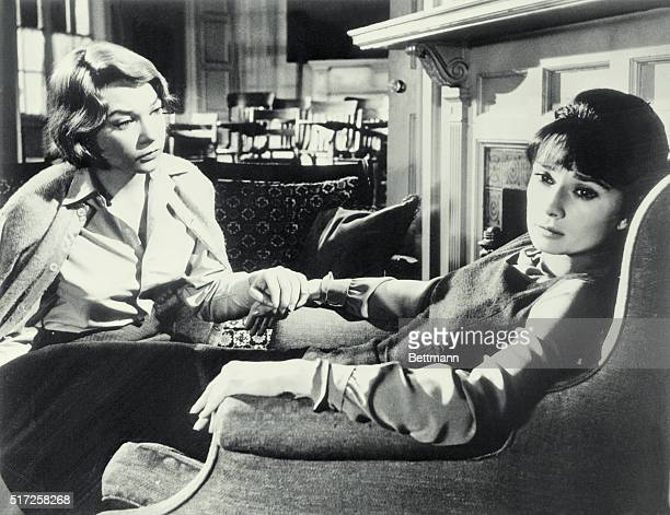 Shirley MacLaine as Martha Dobie and Audrey Hepburn as Karen Wright in The Children's Hour.