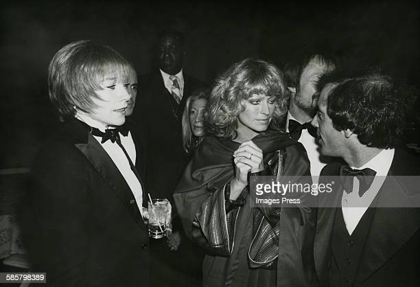 Shirley MacLaine Farrah Fawcett and Steve Rubell at Studio 54 circa 1977 in New York City