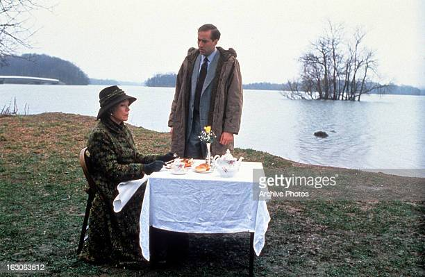 Shirley MacLaine is approached by Nicolas Cage in a scene from the film 'Guarding Tess' 1994