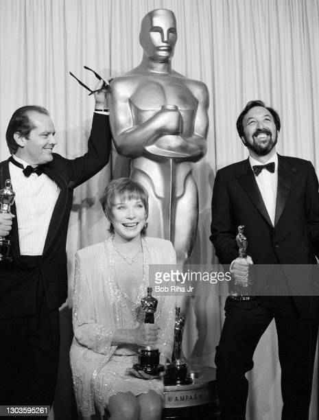 Shirley MacLaine Jack Nicholson and James L. Brooks enjoy a winning moment together backstage at the 56th Annual Academy Awards Show, April 9, 1984...