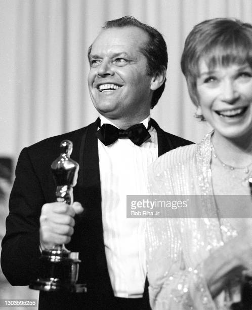 Shirley MacLaine Jack Nicholson enjoy a winning moment together backstage at the 56th Annual Academy Awards Show, April 9, 1984 in Los Angeles,...