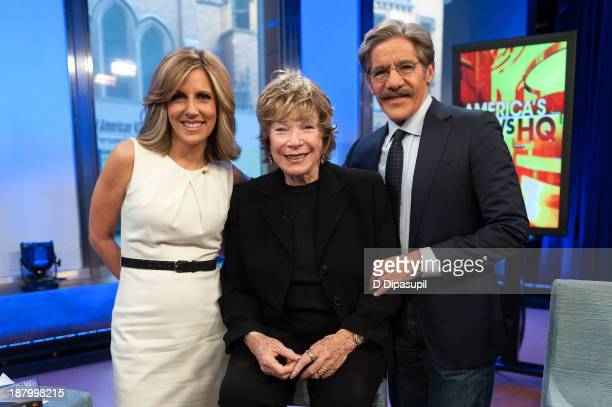 Shirley MacLaine poses with Alisyn Camerota and Geraldo Rivera during her visit to FOX News Channel's America's News Headquarters at FOX Studios on...