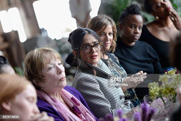 Shirley MacLaine Salma Hayek Cindi Leive and Dee Rees attend Lunch Celebrating Films Powered By Women Hosted By Glamour's Cindi Leive And Girlgaze's...