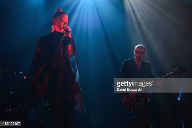 Shirley Manson and Duke Erikson of Garbage perform on stage at Riviera Theatre on April 3 2013 in Chicago Illinois