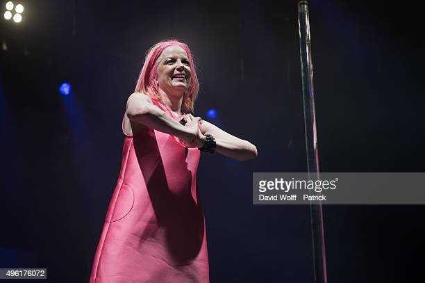 Shirley Manson from Garbage performs at Le Zenith on November 7, 2015 in Paris, France.