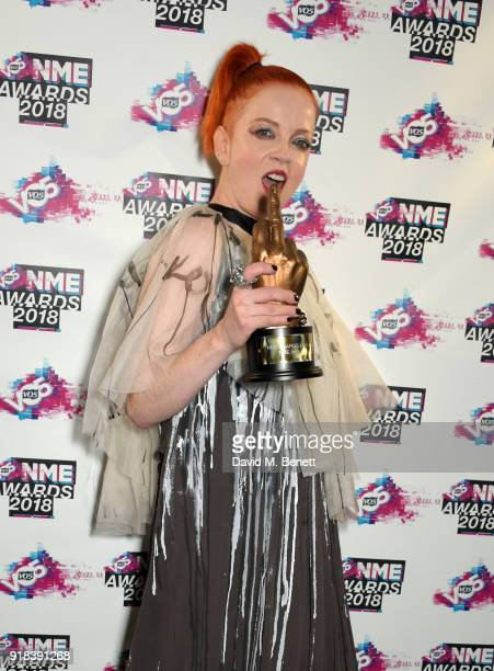 Shirley Manson in the winners room during the VO5 NME Awards held at Brixton Academy on February 14 2018 in London England