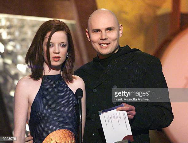 Shirley Manson of Garbage and Billy Corgan of Smashing Pumpkins at the 1999 Grammy Awards held in Los Angeles CA on February 24 1999 Photo by Frank...