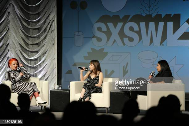 Shirley Manson of Garbage, Lauren Mayberry of Chvrches and Puja Patel speak onstage at Music Keynotes: Shirley Manson & Lauren Mayberry with Puja...