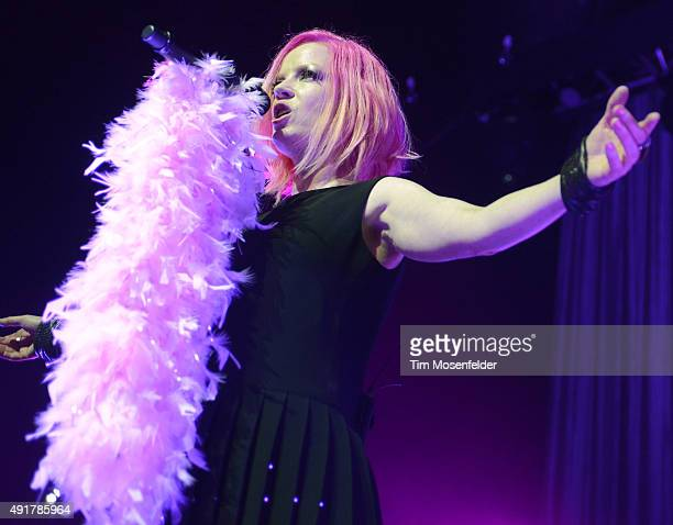 Shirley Manson of Garbage performs during the band's 20 Years Queer Tour at The Fox Theater on October 7 2015 in Oakland California