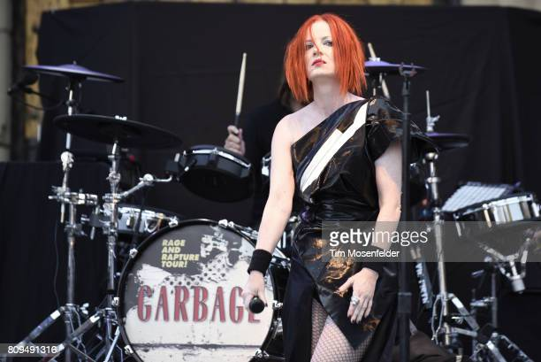 Shirley Manson of Garbage performs during the band's Rage and Rapture Tour at The Mountain Winery on July 5 2017 in Saratoga California