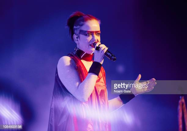 Shirley Manson of Garbage performs in concert during the '20 Years Paranoid' tour at Kings Theatre on October 27 2018 in New York City