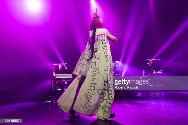 Shirley Manson of Garbage performs on stage at Alhambra Theatre on July 17, 2019 in Dunfermline, Scotland.