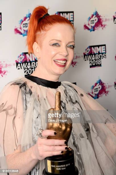 Shirley Manson of Garbage poses in the winners room with the Icon Award at the VO5 NME Awards held at Brixton Academy on February 14 2018 in London...