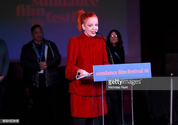 Shirley Manson presents an award onstage at the Shorts Program Awards and Party presented by YouTube during the 2018 Sundance Film Festival at...